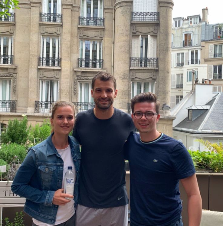 Grigor Dimitrov with winner Leah Luboldt