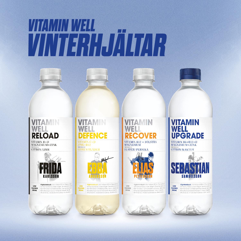 Vitamin Well packshots med vinterhjältar